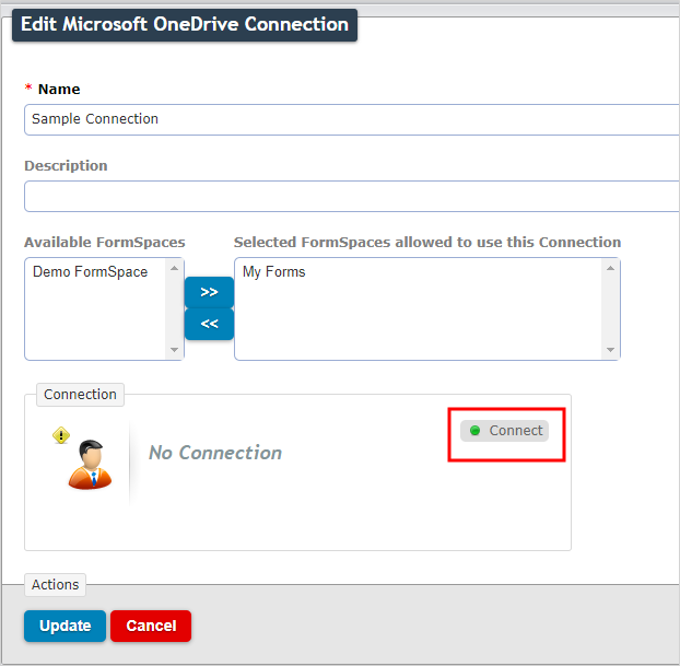 Connect to a connection in the web portal